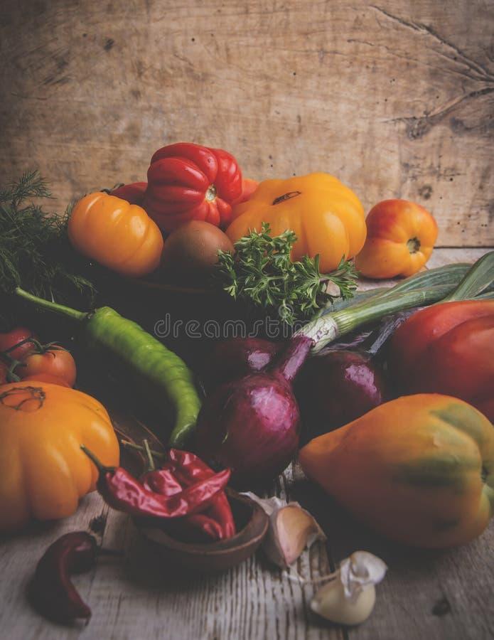 olika sorter av tomaten, grönsaker, lök, peppar, vitlökstilleben som är lantlig royaltyfria bilder