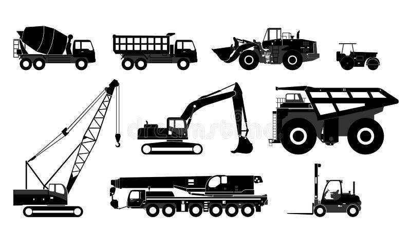 Olika sorter av tung utrustning stock illustrationer