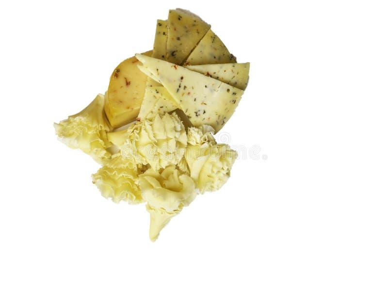 Olika sorter för ost med örter, peppar royaltyfria foton