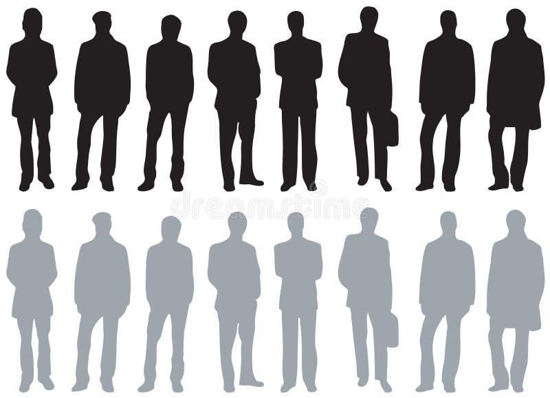 olika sortmansilhouettes stock illustrationer