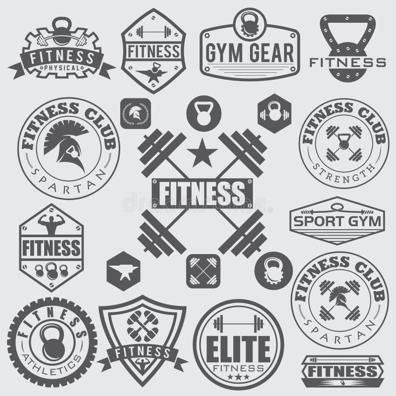 olika sportar och konditionsymboler och designbeståndsdelar stock illustrationer