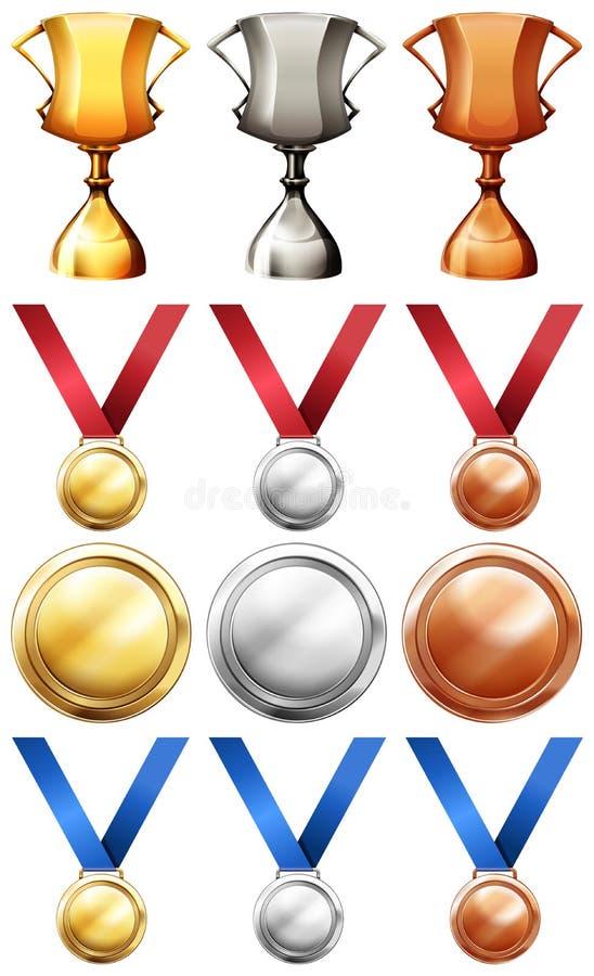 Olika sporttroféer och medaljer stock illustrationer