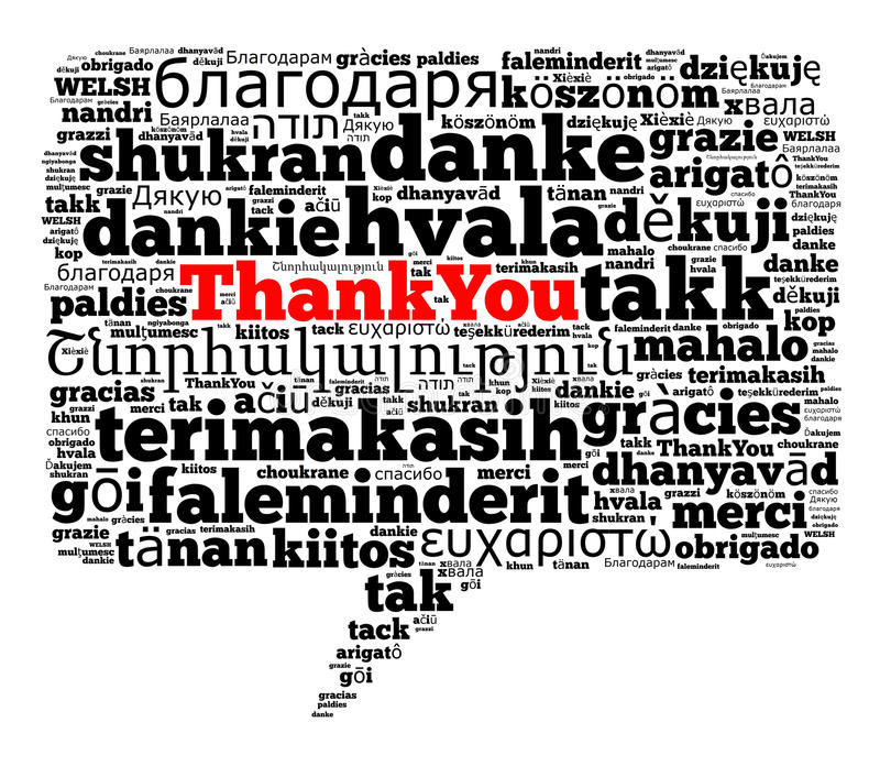 olika språk tackar dig royaltyfri illustrationer