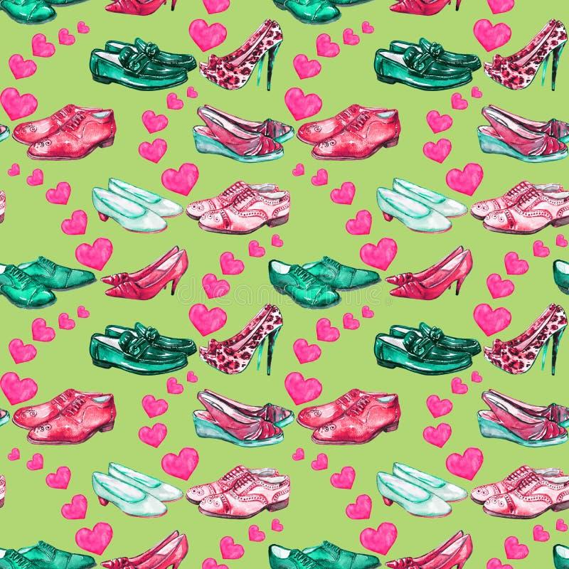 Olika stilar av gentleman` s och förälskade skor för dam` s, fördelande rosa hjärtor som är ljusa - gräsplan, palett för röda fär royaltyfri illustrationer