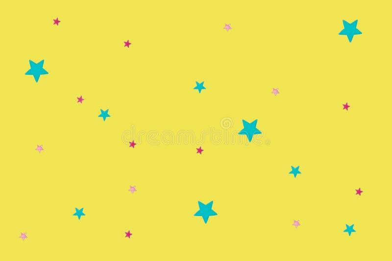 Olika stjärnor på en gul bakgrund arkivbilder