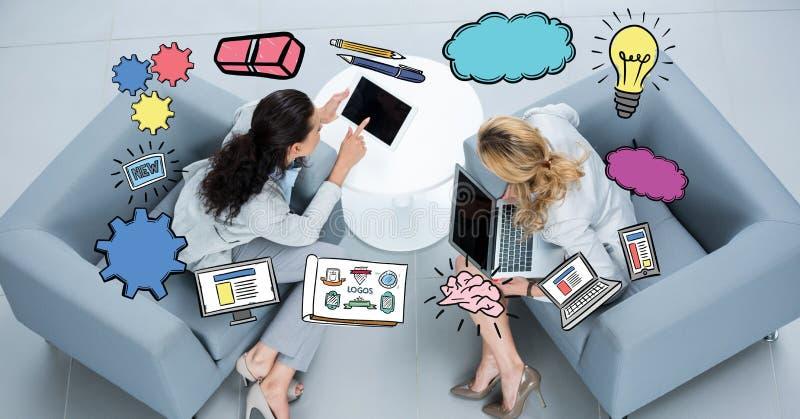 Olika symboler över affärskvinnor som använder bärbara datorer på soffan royaltyfri illustrationer