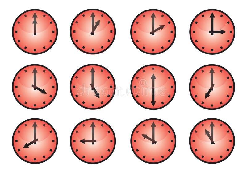 olika symboler för klocka royaltyfri illustrationer