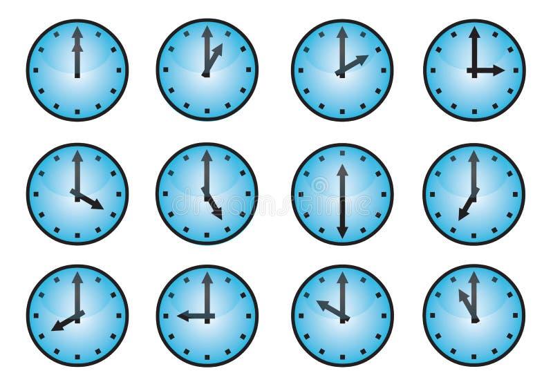 olika symboler för klocka vektor illustrationer