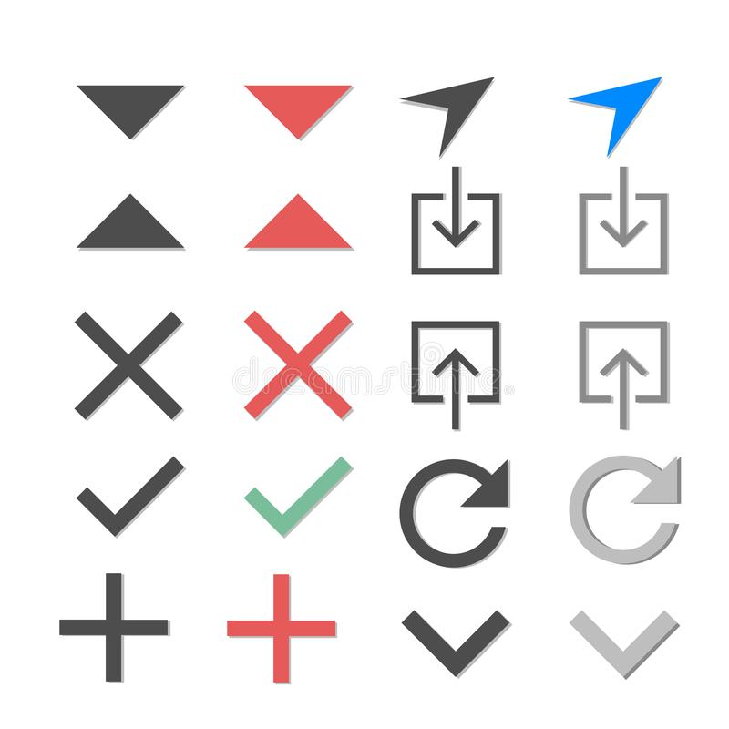 Olika symboler på ett vitt bakgrundsmeddelande som överförs symbol, nedladdningsymboler, plus symboler, negativ symboler royaltyfri illustrationer