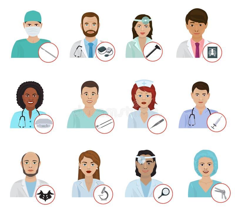 Olika tecken för personal för sjukhus för stående för doktorsavatarframsida sänker för läkarefolk för medicin den yrkesmässiga ve royaltyfri illustrationer