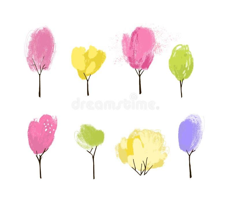 Olika träd och buskar Rosa växter för träd för körsbärsröda blomning gröna och gula vår, Målad illustration med gouache stock illustrationer