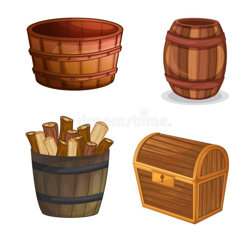 Olika träobjekt stock illustrationer