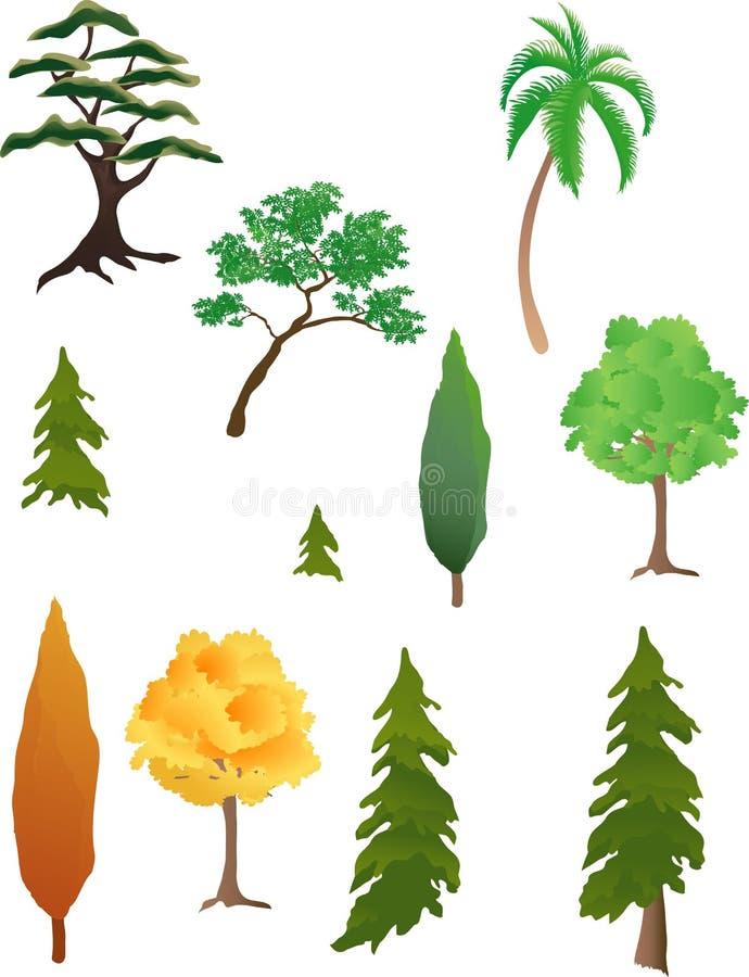 olika trees stock illustrationer