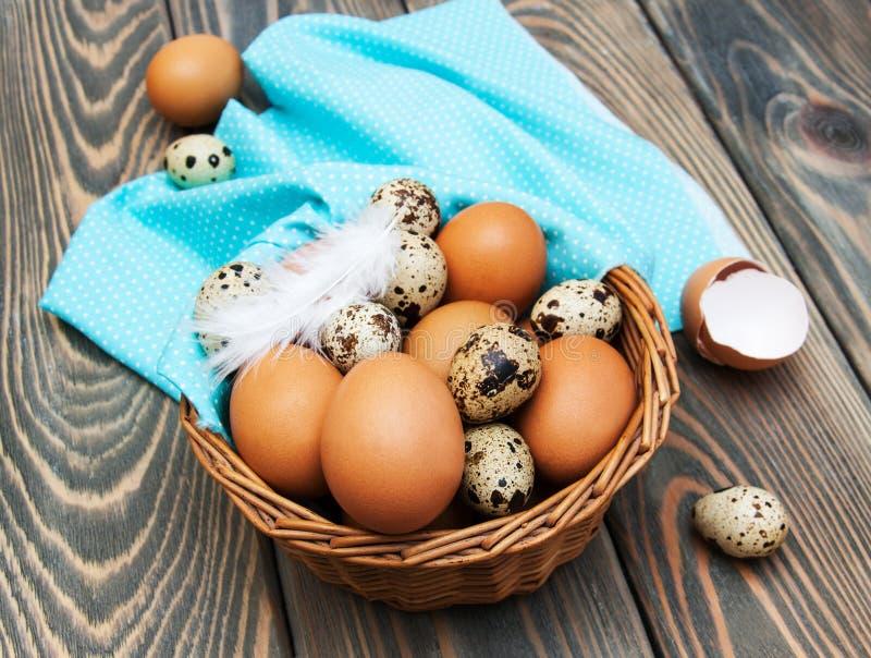 Olika typer av ägg i en korg royaltyfri bild