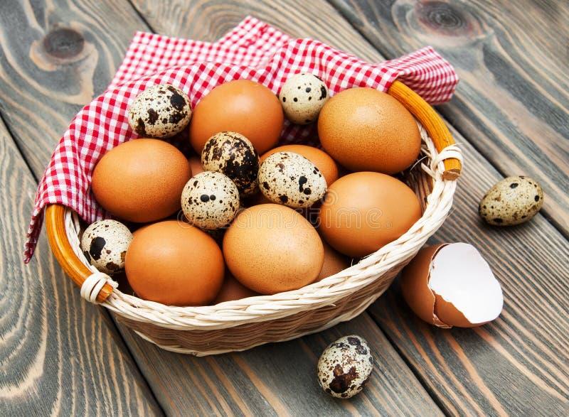 Olika typer av ägg i en korg arkivfoto