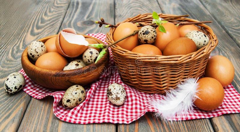 Olika typer av ägg i en korg royaltyfria foton