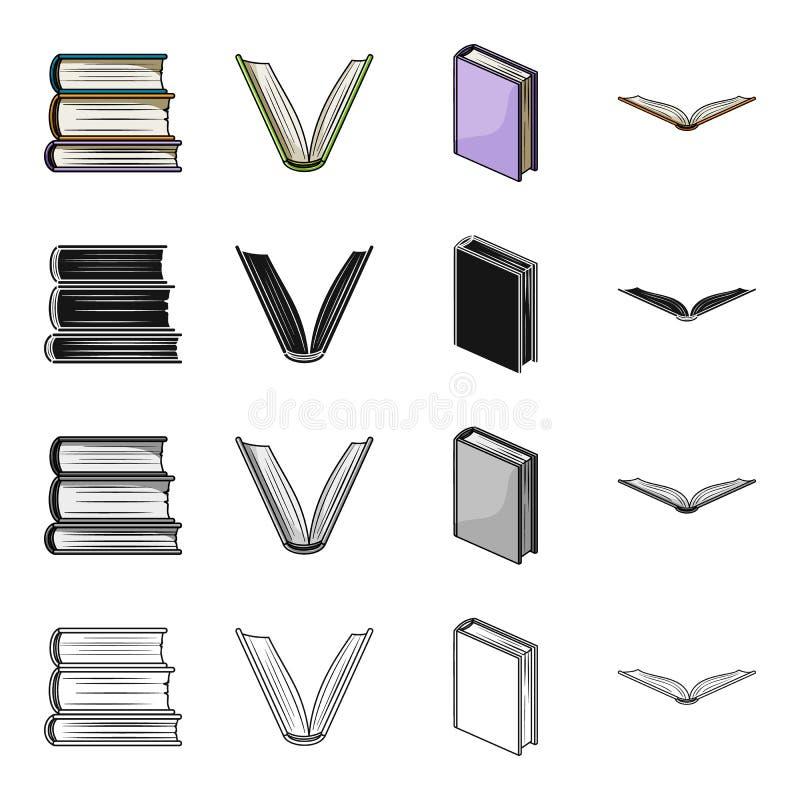Olika typer av böcker, litteratur, lärobok, ordbok Svärtar fastställda samlingssymboler för bok i tecknad film monokrom stock illustrationer