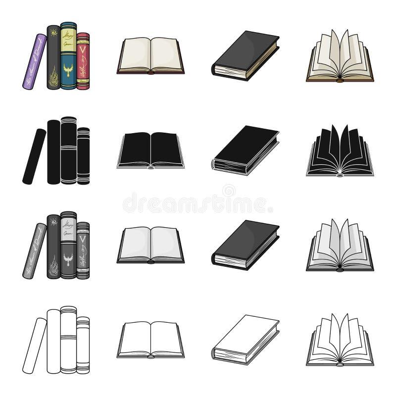 Olika typer av böcker, litteratur, lärobok, ordbok Svärtar fastställda samlingssymboler för bok i tecknad film monokrom royaltyfri illustrationer