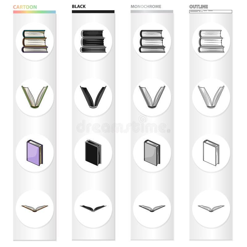 Olika typer av böcker, litteratur, lärobok, ordbok Svärtar fastställda samlingssymboler för bok i tecknad film monokrom vektor illustrationer