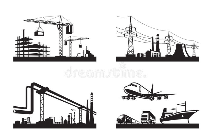 Olika typer av branscher vektor illustrationer