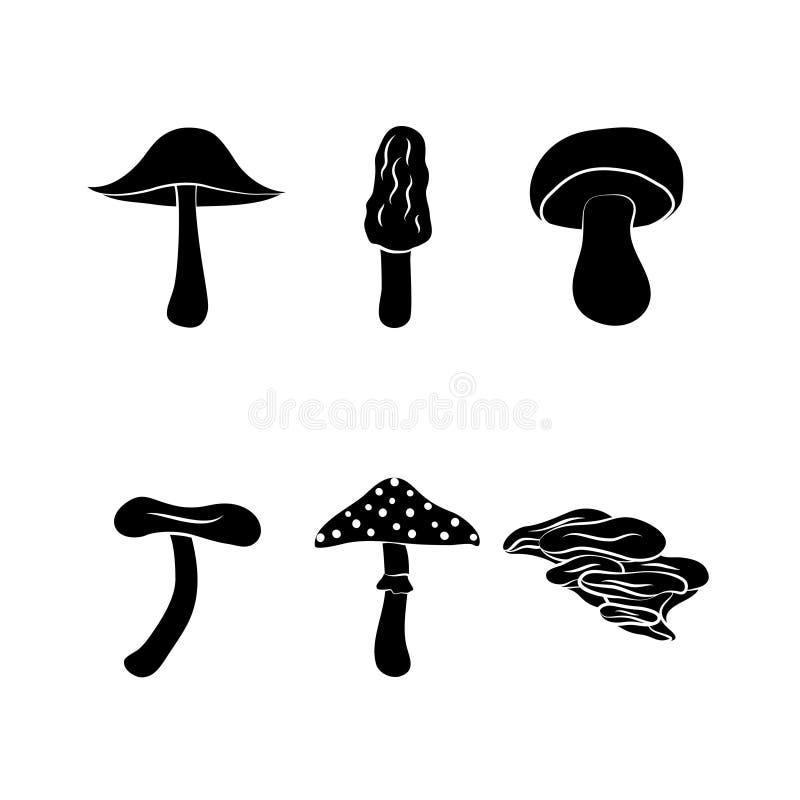 Olika typer av champinjoner stock illustrationer
