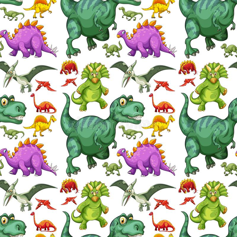 Olika typer av den sömlösa modellen för dinosaurie stock illustrationer