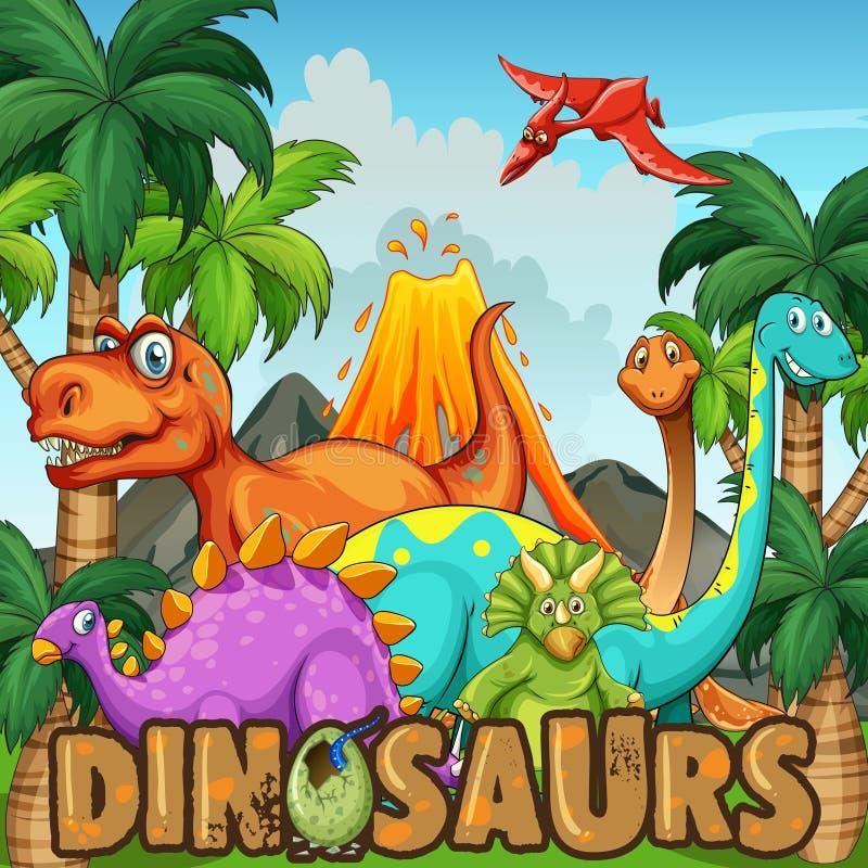 Olika typer av dinosaurier vid vulkan vektor illustrationer
