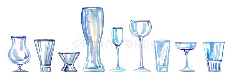 Olika typer av dricka exponeringsglas Den drog vattenfärghanden skissar illustrationuppsättningen royaltyfri illustrationer