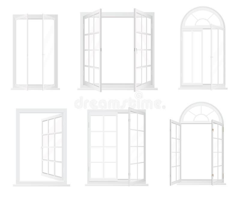 Olika typer av fönster Realistisk dekorativ fönstersymbolsuppsättning royaltyfri illustrationer