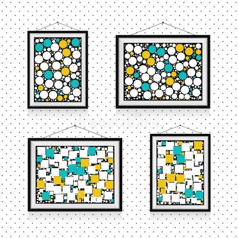 Olika typer av fotoramar med cirklar och fyrkanter på väggen - bakgrundsmall stock illustrationer
