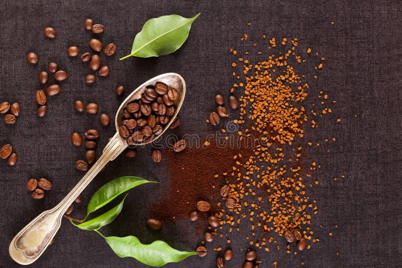 Olika typer av kaffe royaltyfria bilder