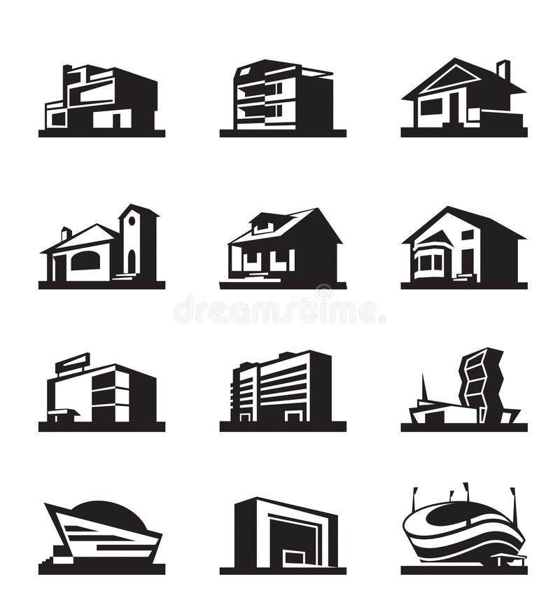 Olika typer av konstruktion stock illustrationer