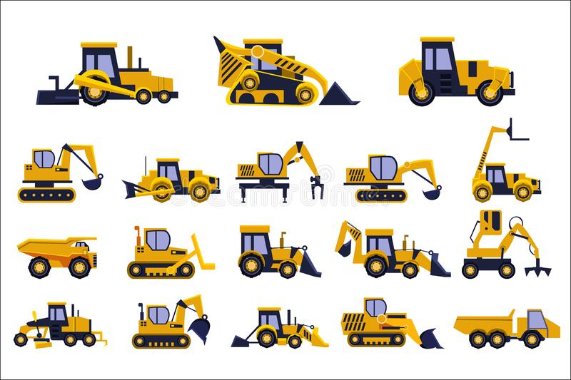 Olika typer av konstruktionslastbilar ställde in, tung utrustning, illustrationer för konstruktionsmedelvektor på en vit vektor illustrationer