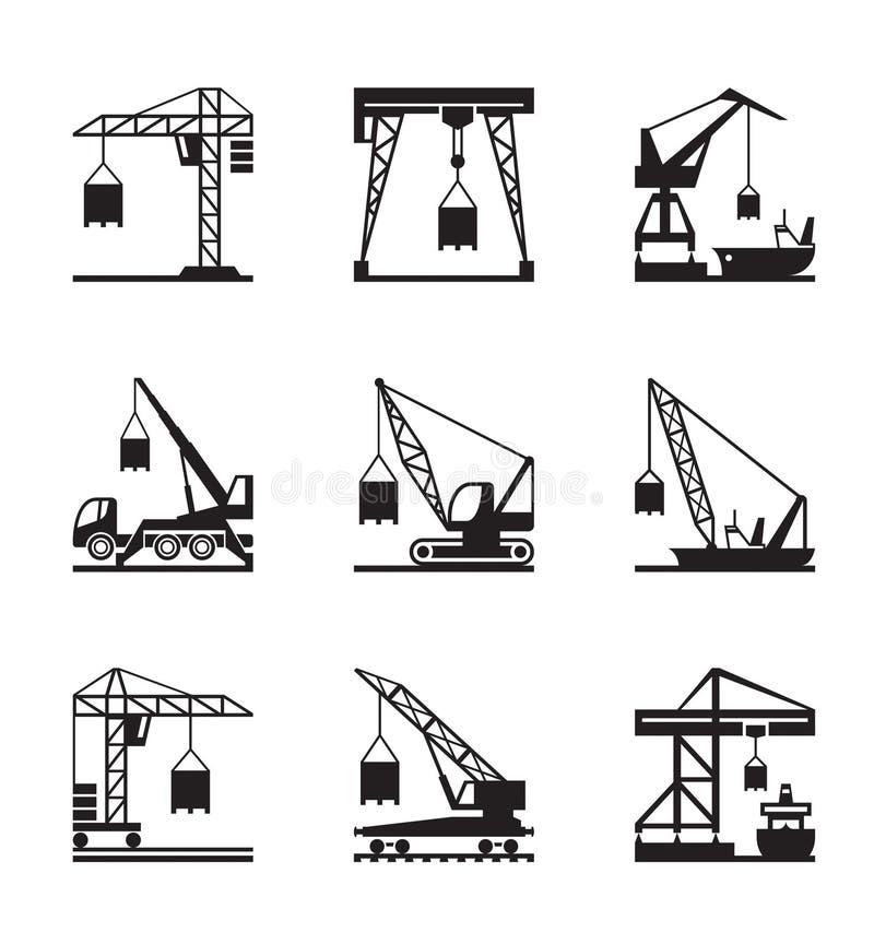 Olika typer av kranar stock illustrationer