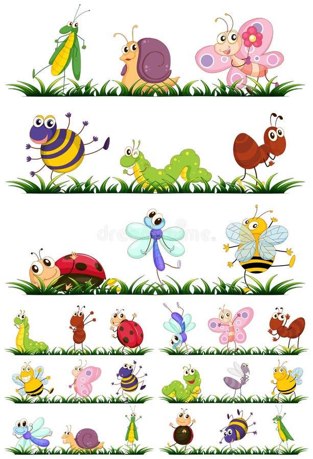 Olika typer av kryp på gräs royaltyfri illustrationer