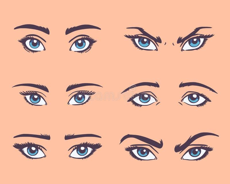 Olika typer av kvinnaögon med ögonbryn stock illustrationer