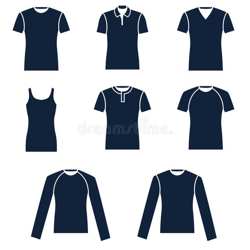 Olika typer av mäns t-skjortor stock illustrationer
