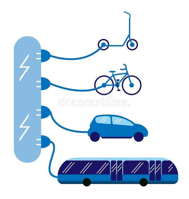 Olika typer av medel som drivas av elektricitet ocks? vektor f?r coreldrawillustration Cykel, buss, sparkcykel och bil som laddar royaltyfri illustrationer
