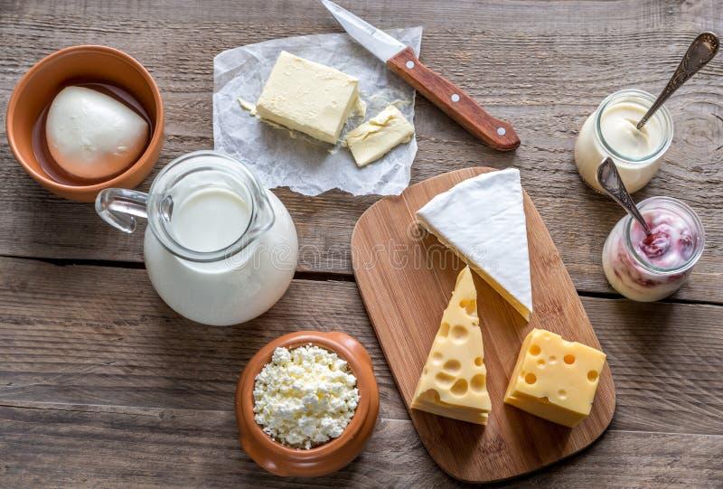 Olika typer av mejeriprodukter fotografering för bildbyråer