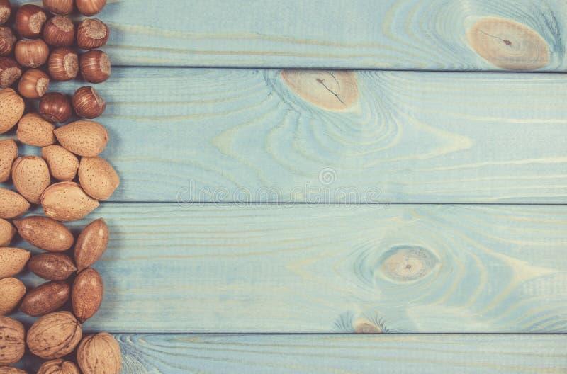 Olika typer av muttrar i ett skal på en träbakgrund Ett ställe för en inskrift royaltyfria bilder