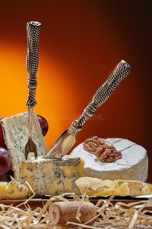 Olika typer av ost, tappningkniven och gaffeln royaltyfri bild