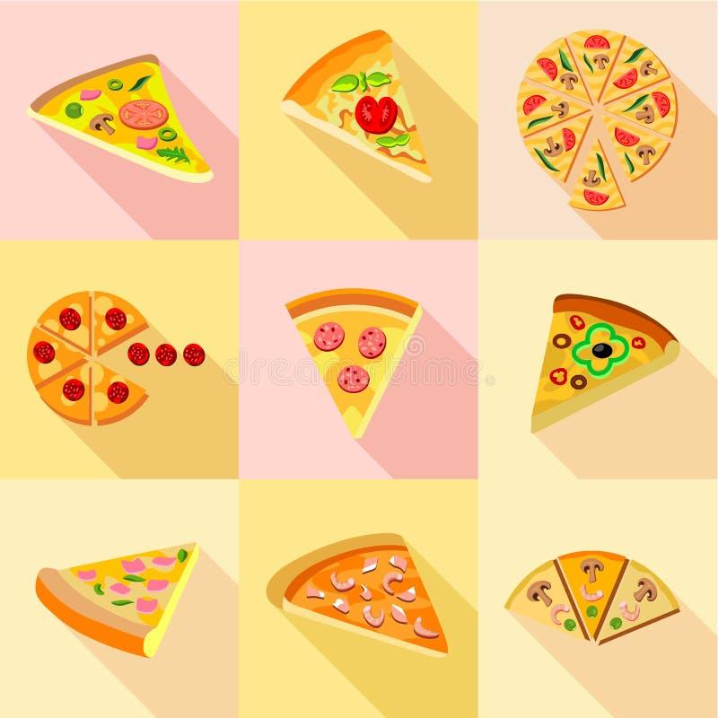 Olika typer av pizzasymboler ställde in, plan stil vektor illustrationer