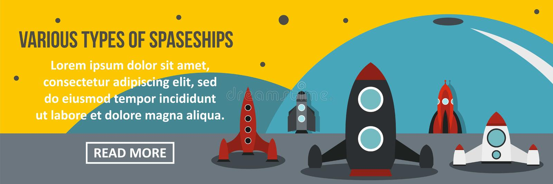 Olika typer av rymdskeppbanerhorisontalbegreppet stock illustrationer