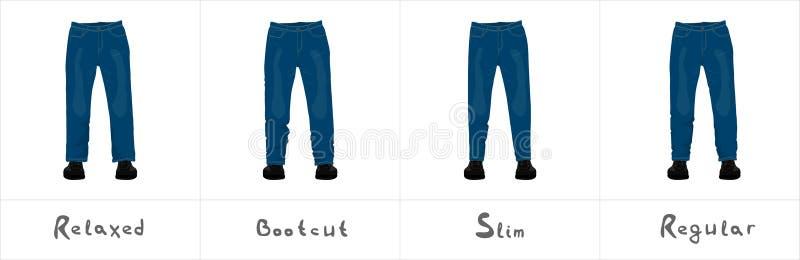 Olika typer av sikten för jeans för man` som s den främre isoleras på vit stock illustrationer