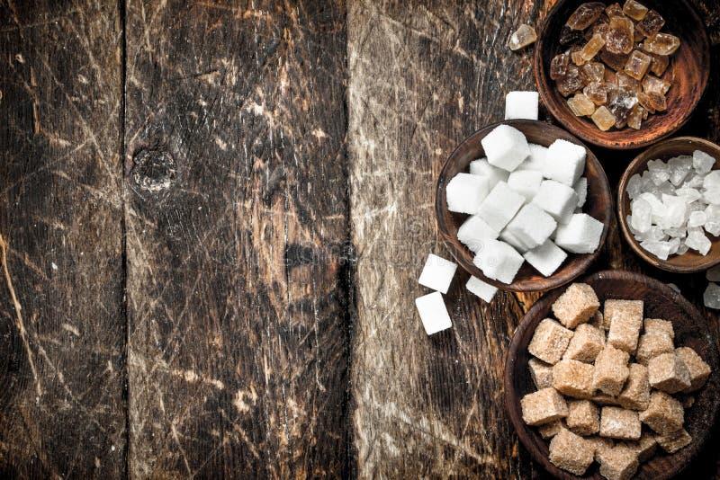 Olika typer av socker i bunkar royaltyfri foto