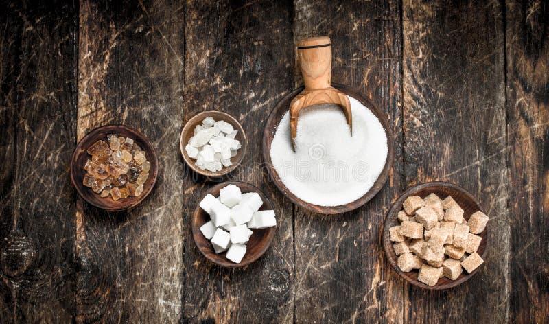 Olika typer av socker i bunkar arkivbilder