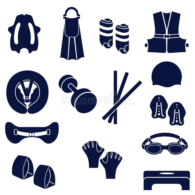 Olika typer av tillbehör för att simma royaltyfri illustrationer
