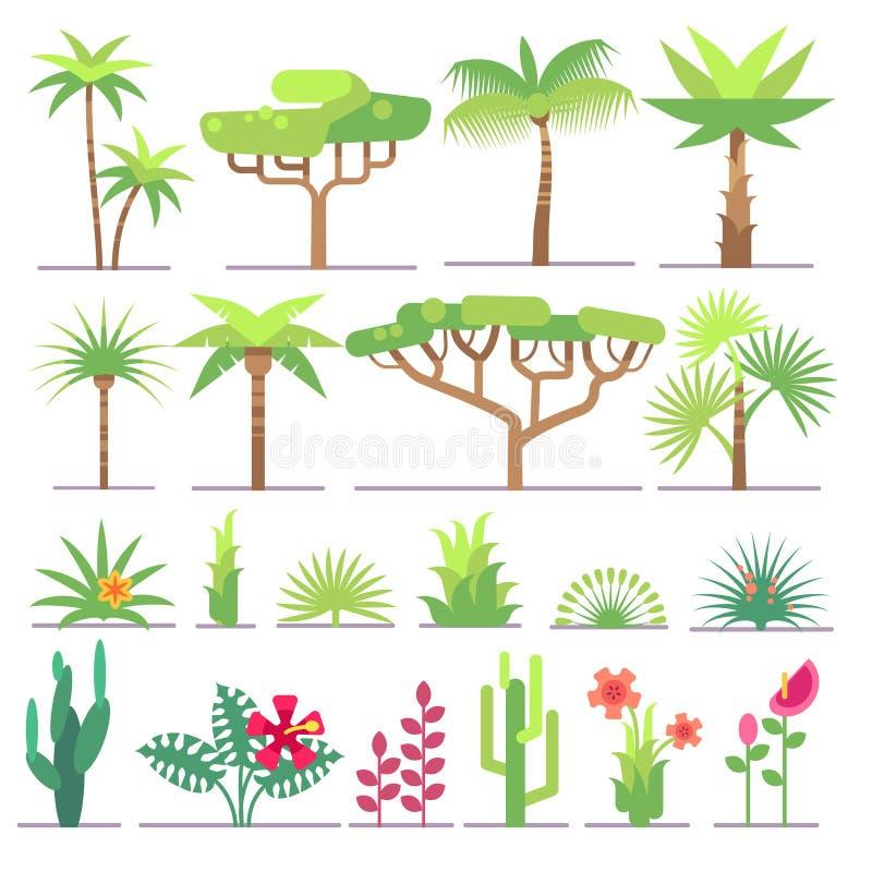 Olika typer av tropiska växter, träd, blommor sänker vektorsamlingen royaltyfri illustrationer