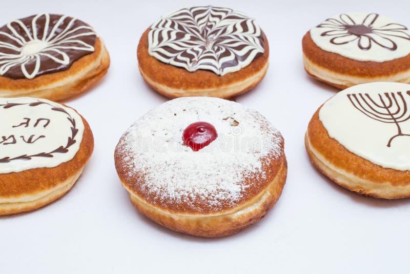 Olika typer för sakkunnig av donutsChanukkah arkivfoto