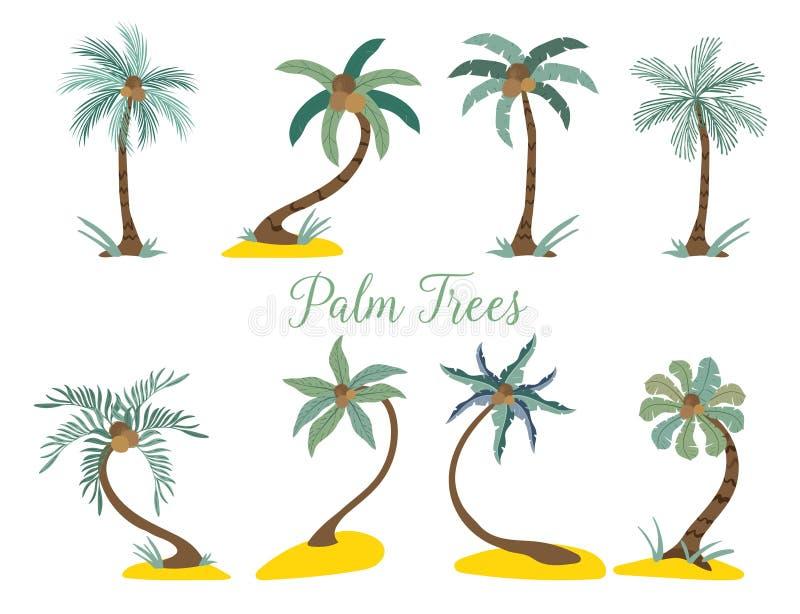 Olika typpalmträd på stranden vektor illustrationer